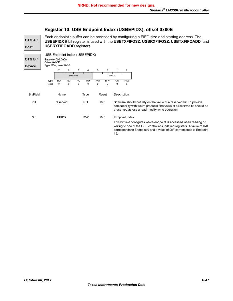 LM3S9U90 ,Texas Instruments厂商,Stellaris LM3S Microcontroller 108-NFBGA -40 to 85, LM3S9U90 datasheet预览  第1047页