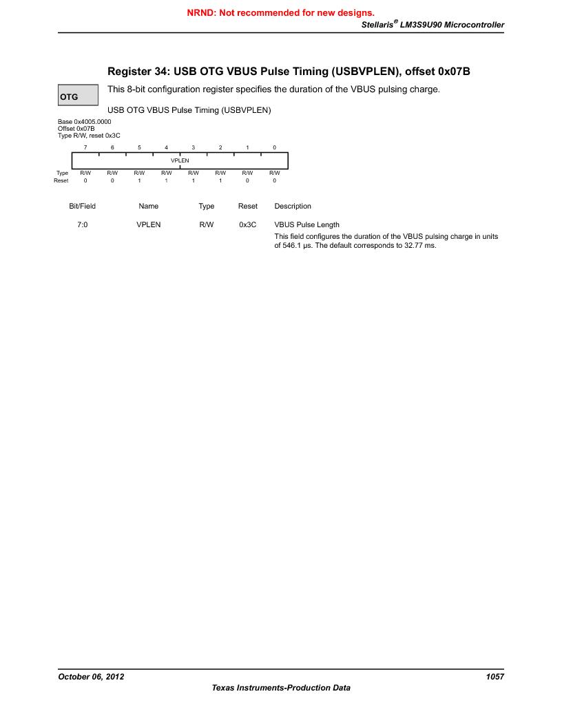 LM3S9U90 ,Texas Instruments厂商,Stellaris LM3S Microcontroller 108-NFBGA -40 to 85, LM3S9U90 datasheet预览  第1057页
