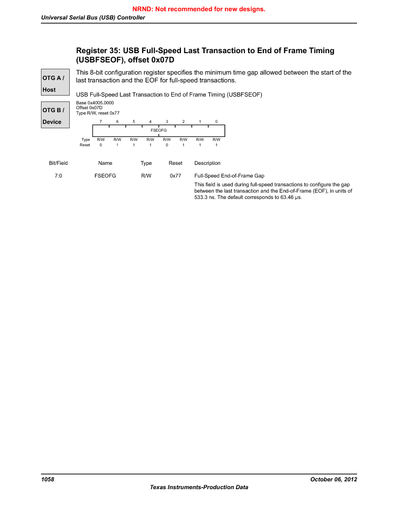 LM3S9U90 ,Texas Instruments厂商,Stellaris LM3S Microcontroller 108-NFBGA -40 to 85, LM3S9U90 datasheet预览  第1058页