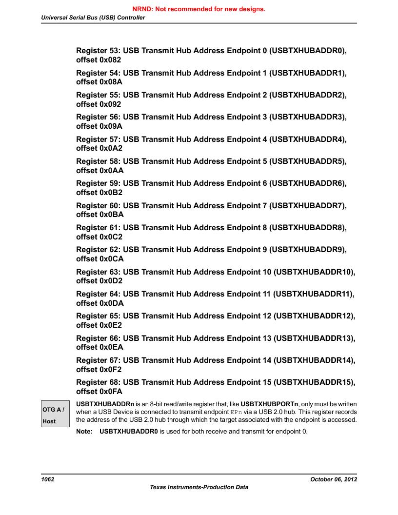 LM3S9U90 ,Texas Instruments厂商,Stellaris LM3S Microcontroller 108-NFBGA -40 to 85, LM3S9U90 datasheet预览  第1062页