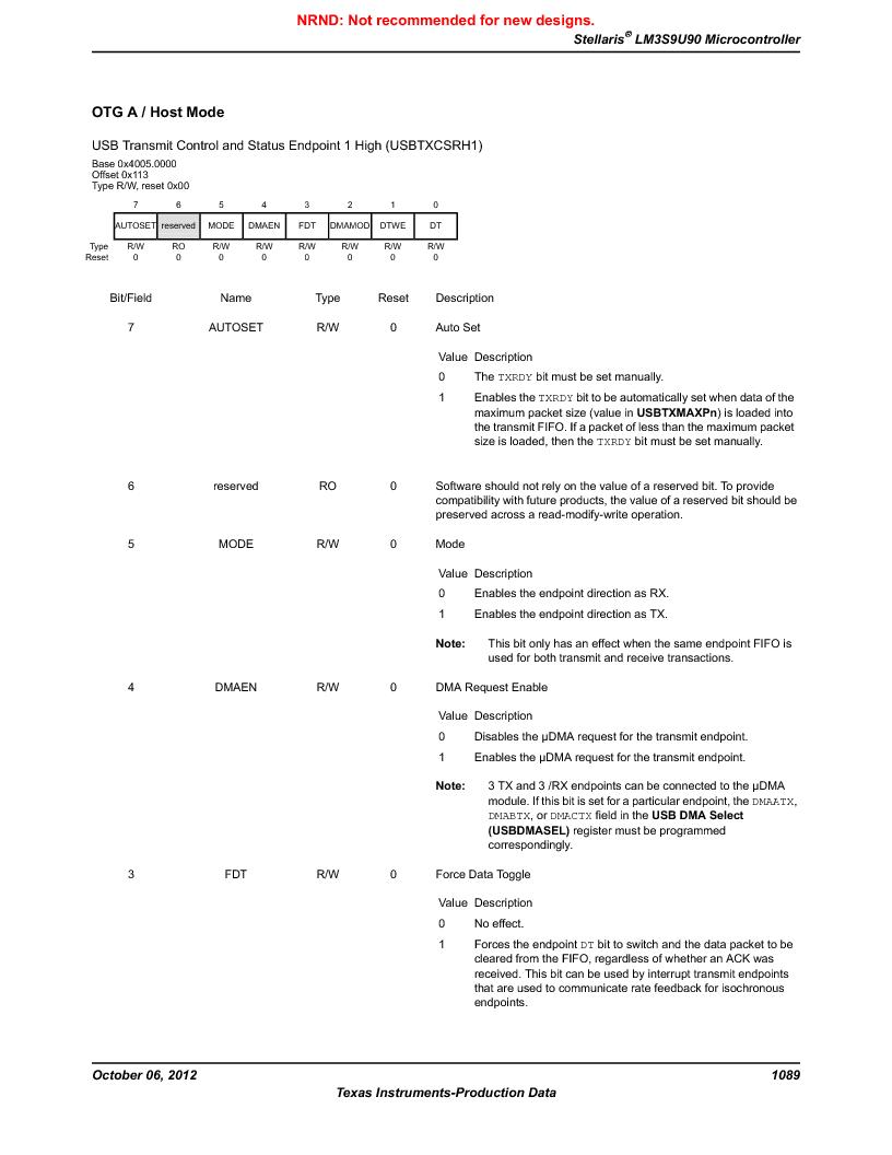 LM3S9U90 ,Texas Instruments厂商,Stellaris LM3S Microcontroller 108-NFBGA -40 to 85, LM3S9U90 datasheet预览  第1089页