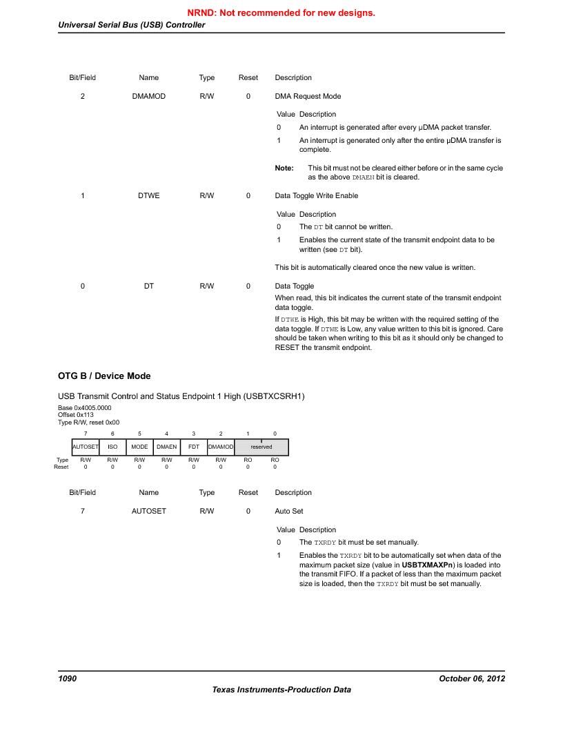 LM3S9U90 ,Texas Instruments厂商,Stellaris LM3S Microcontroller 108-NFBGA -40 to 85, LM3S9U90 datasheet预览  第1090页