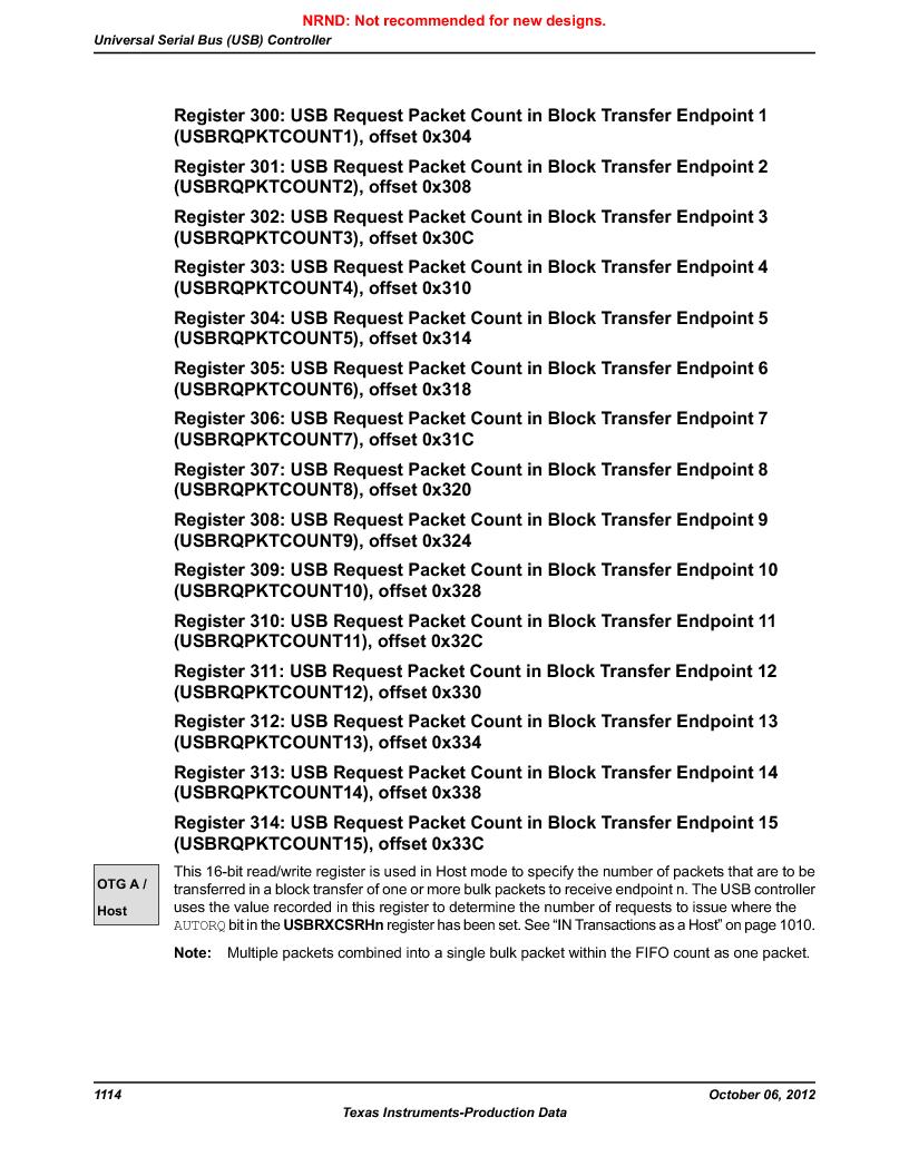 LM3S9U90 ,Texas Instruments厂商,Stellaris LM3S Microcontroller 108-NFBGA -40 to 85, LM3S9U90 datasheet预览  第1114页