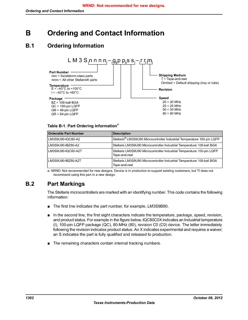 LM3S9U90 ,Texas Instruments厂商,Stellaris LM3S Microcontroller 108-NFBGA -40 to 85, LM3S9U90 datasheet预览  第1302页