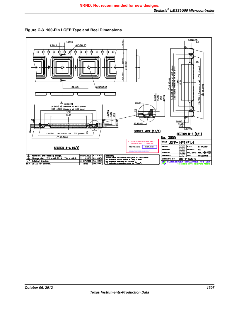 LM3S9U90 ,Texas Instruments厂商,Stellaris LM3S Microcontroller 108-NFBGA -40 to 85, LM3S9U90 datasheet预览  第1307页