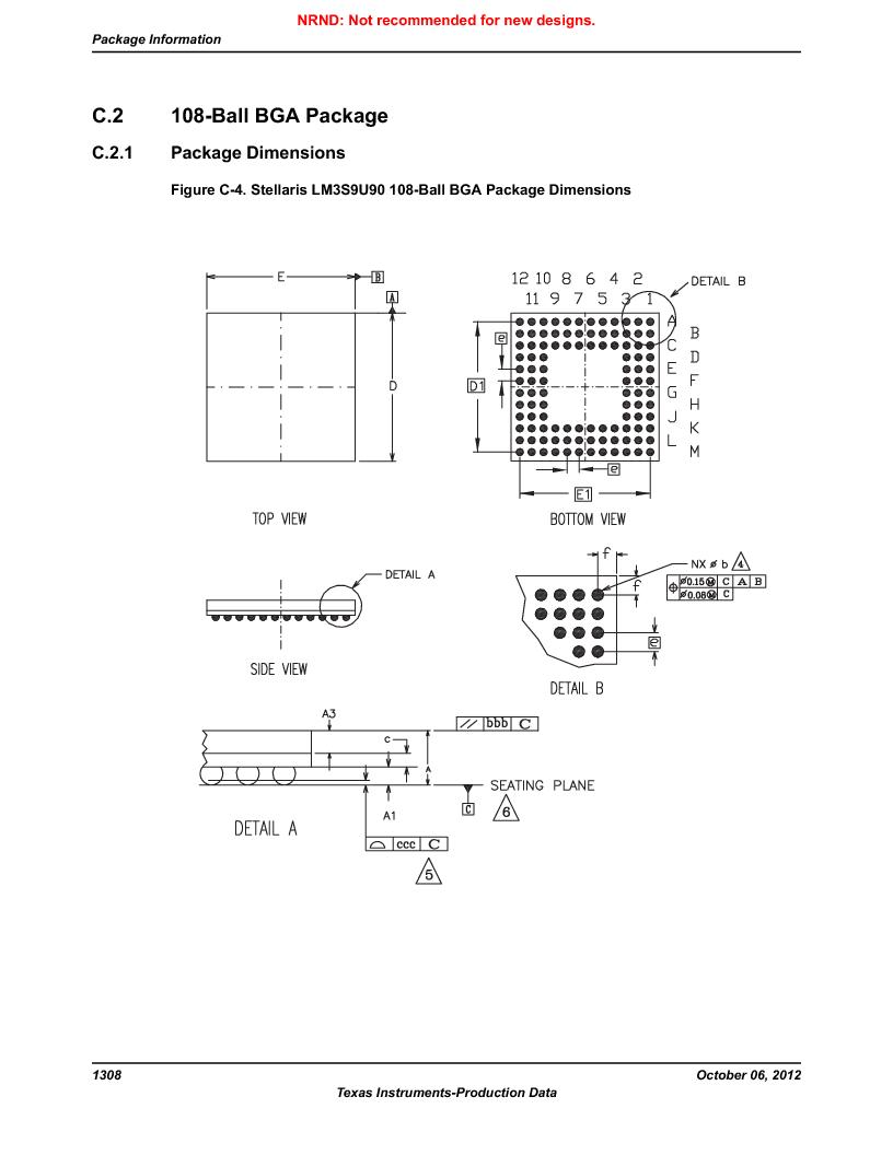 LM3S9U90 ,Texas Instruments厂商,Stellaris LM3S Microcontroller 108-NFBGA -40 to 85, LM3S9U90 datasheet预览  第1308页
