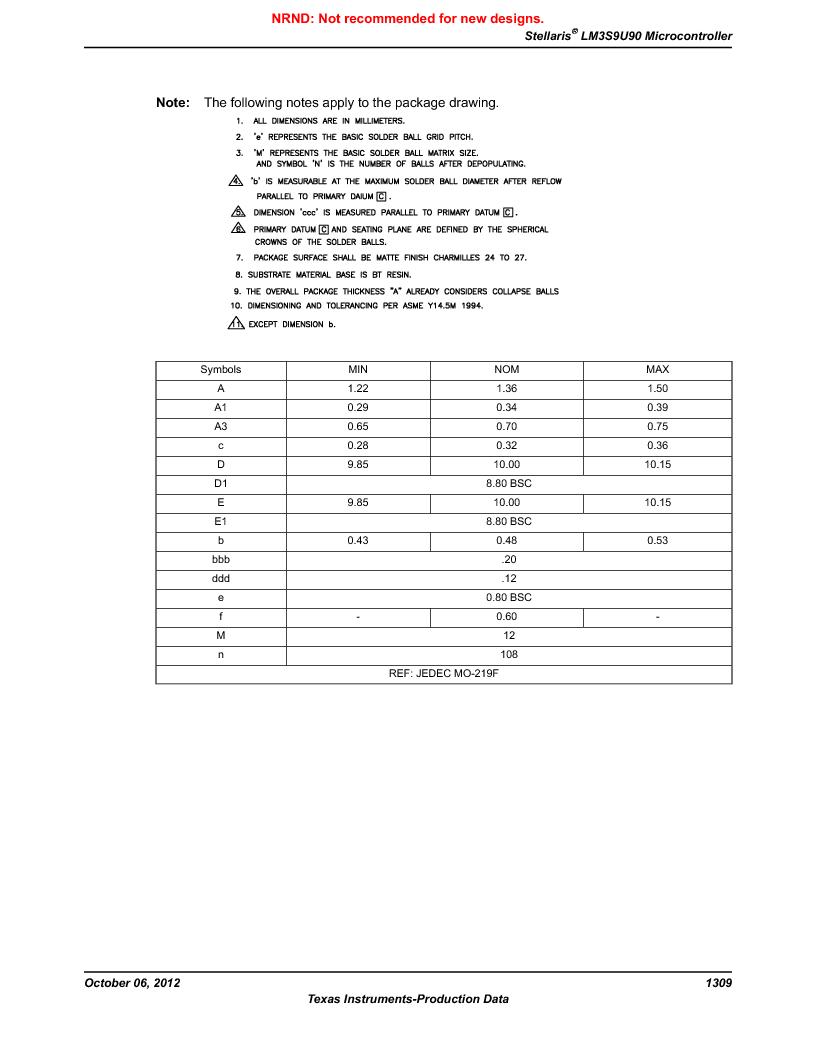 LM3S9U90 ,Texas Instruments厂商,Stellaris LM3S Microcontroller 108-NFBGA -40 to 85, LM3S9U90 datasheet预览  第1309页