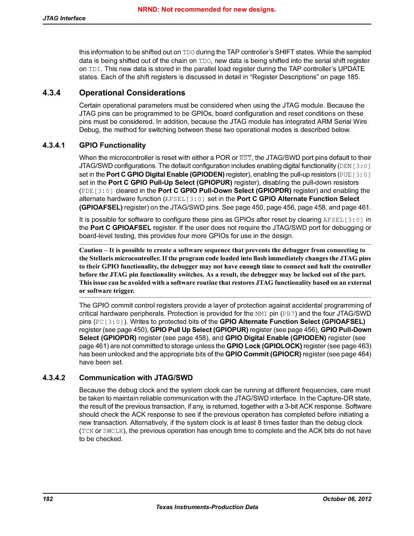 LM3S9U90 ,Texas Instruments厂商,Stellaris LM3S Microcontroller 108-NFBGA -40 to 85, LM3S9U90 datasheet预览  第182页