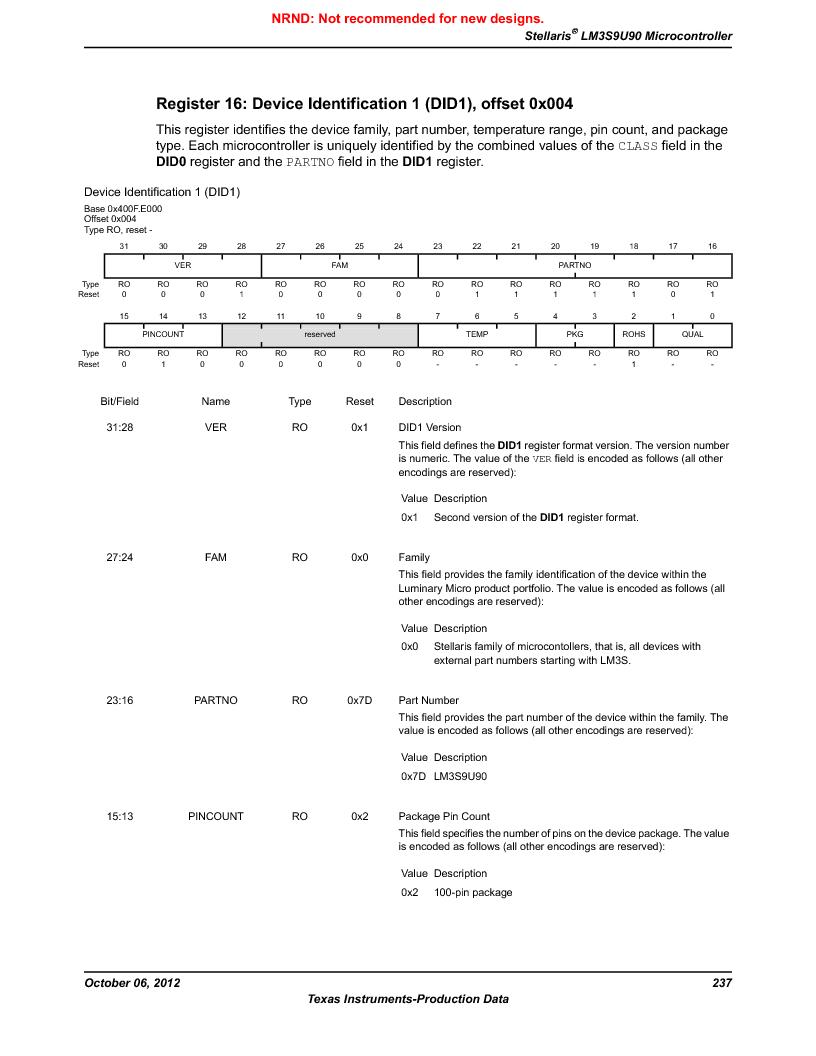 LM3S9U90 ,Texas Instruments厂商,Stellaris LM3S Microcontroller 108-NFBGA -40 to 85, LM3S9U90 datasheet预览  第237页