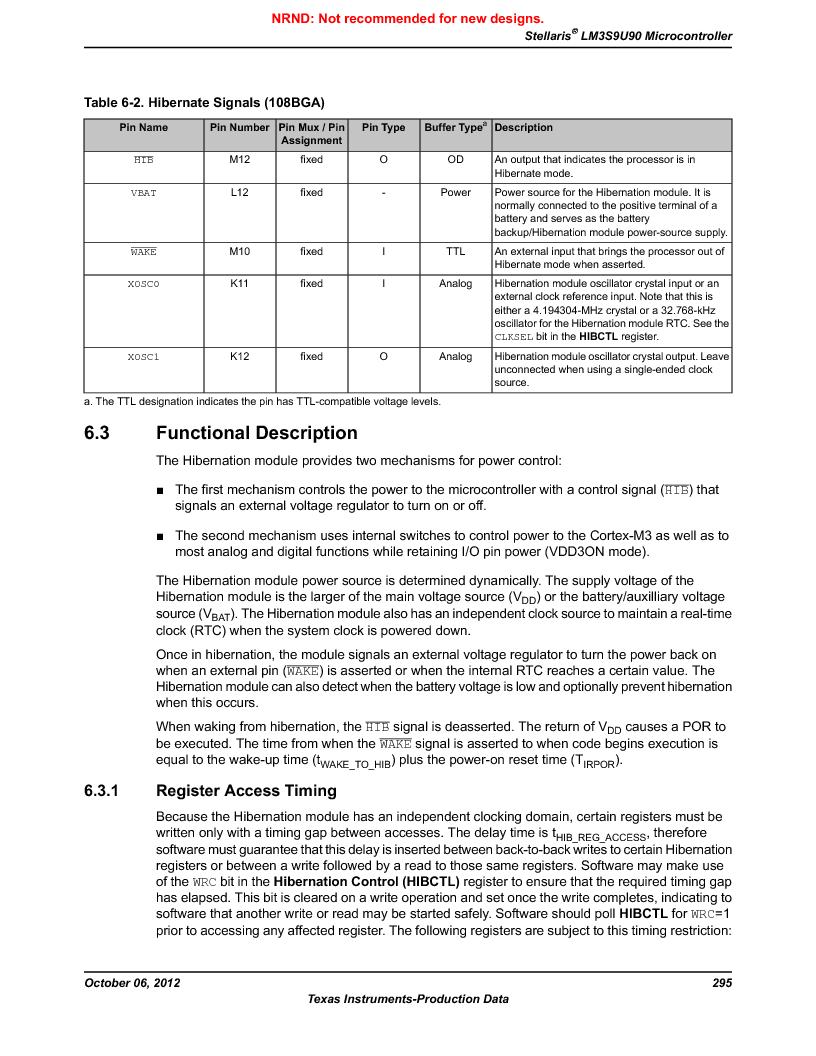 LM3S9U90 ,Texas Instruments厂商,Stellaris LM3S Microcontroller 108-NFBGA -40 to 85, LM3S9U90 datasheet预览  第295页