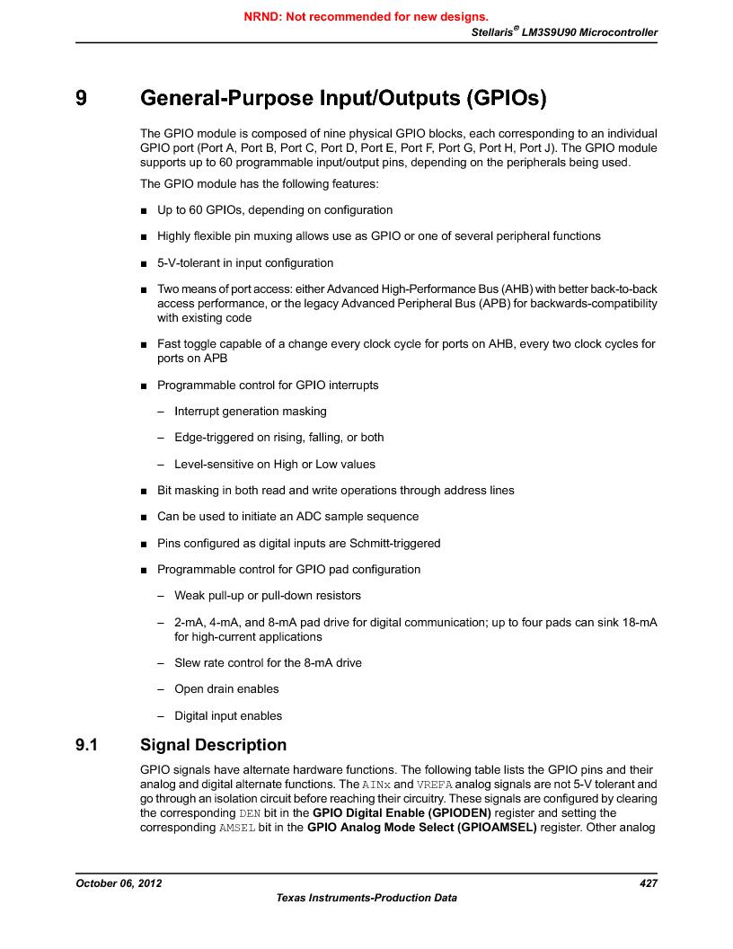 LM3S9U90 ,Texas Instruments厂商,Stellaris LM3S Microcontroller 108-NFBGA -40 to 85, LM3S9U90 datasheet预览  第427页