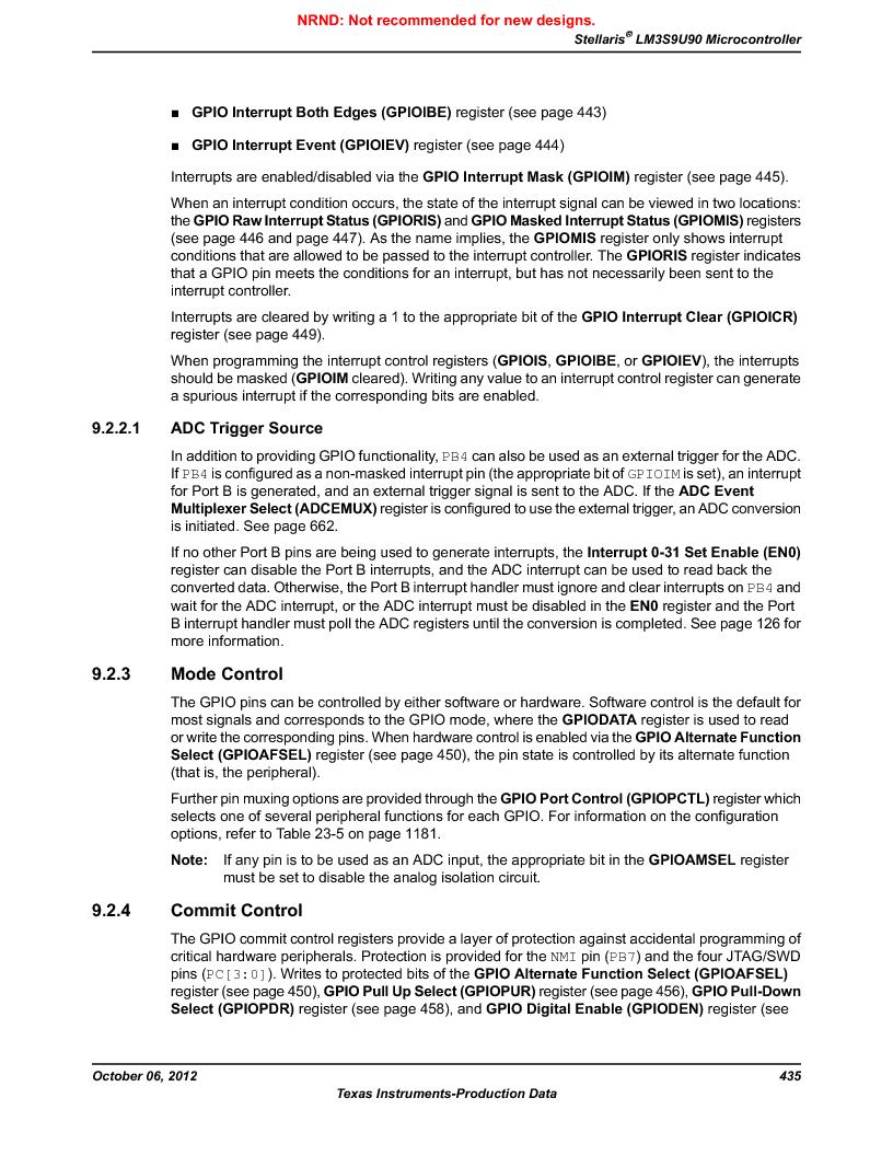 LM3S9U90 ,Texas Instruments厂商,Stellaris LM3S Microcontroller 108-NFBGA -40 to 85, LM3S9U90 datasheet预览  第435页