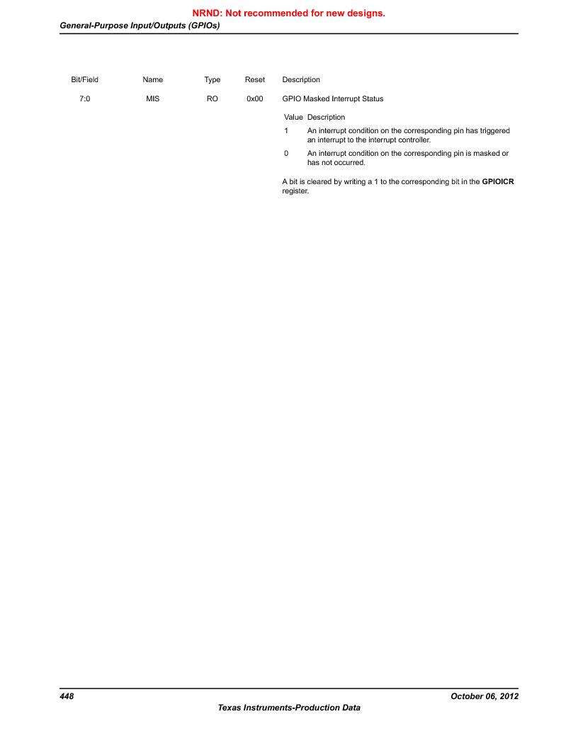 LM3S9U90 ,Texas Instruments厂商,Stellaris LM3S Microcontroller 108-NFBGA -40 to 85, LM3S9U90 datasheet预览  第448页