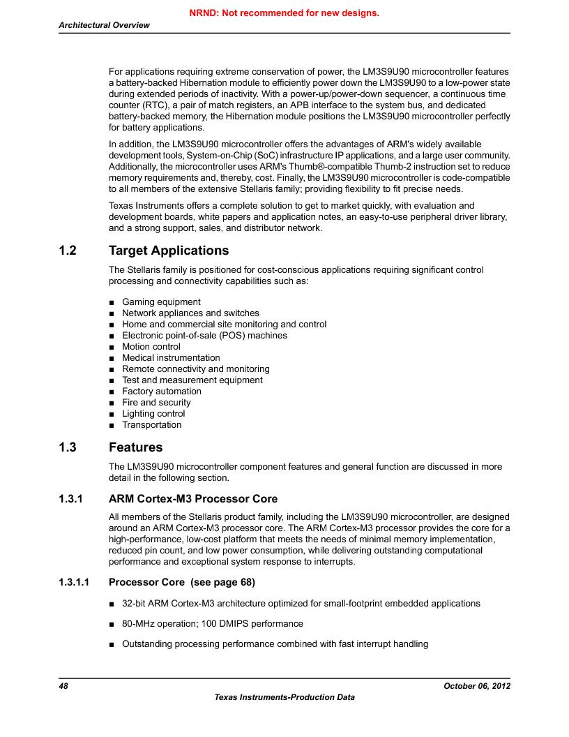 LM3S9U90 ,Texas Instruments厂商,Stellaris LM3S Microcontroller 108-NFBGA -40 to 85, LM3S9U90 datasheet预览  第48页