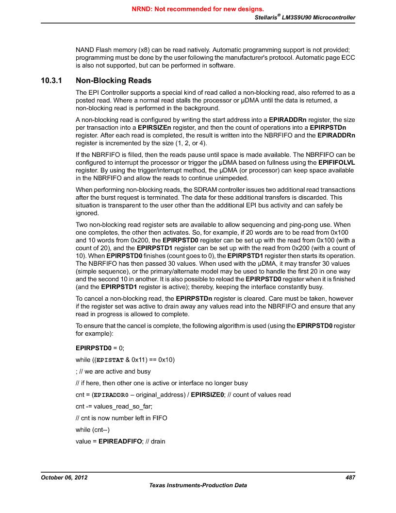 LM3S9U90 ,Texas Instruments厂商,Stellaris LM3S Microcontroller 108-NFBGA -40 to 85, LM3S9U90 datasheet预览  第487页