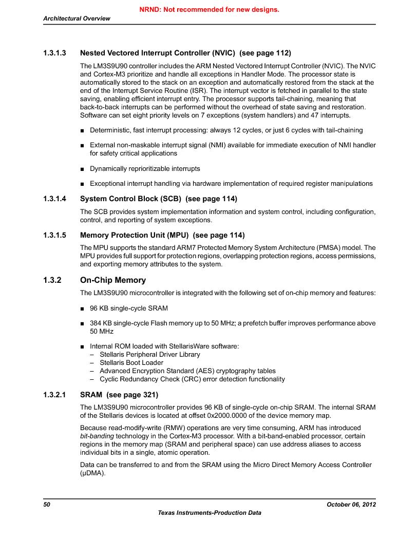 LM3S9U90 ,Texas Instruments厂商,Stellaris LM3S Microcontroller 108-NFBGA -40 to 85, LM3S9U90 datasheet预览  第50页