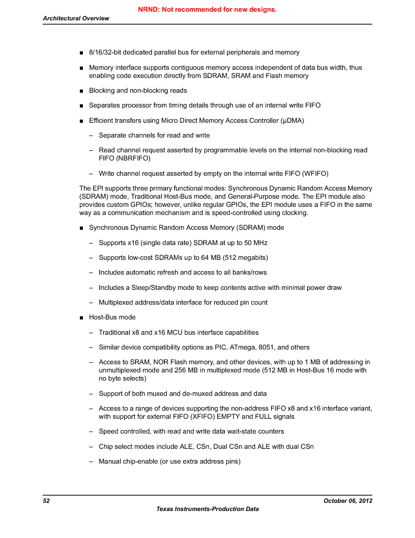 LM3S9U90 ,Texas Instruments厂商,Stellaris LM3S Microcontroller 108-NFBGA -40 to 85, LM3S9U90 datasheet预览  第52页