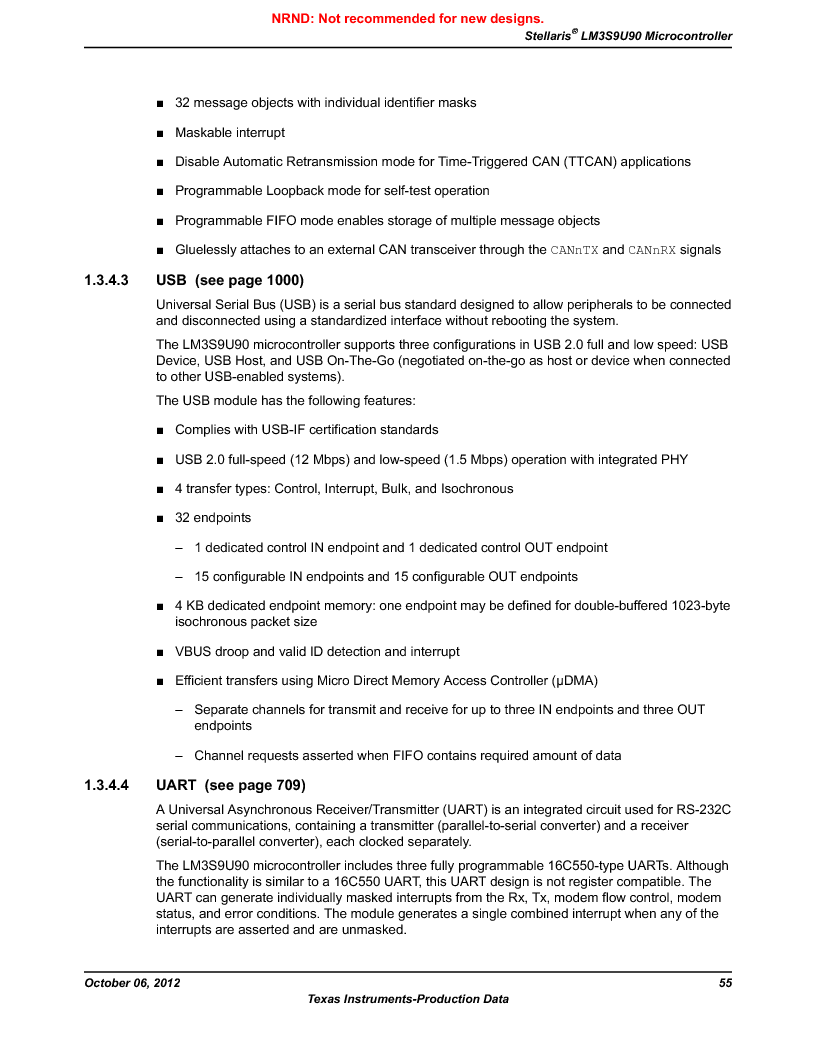 LM3S9U90 ,Texas Instruments厂商,Stellaris LM3S Microcontroller 108-NFBGA -40 to 85, LM3S9U90 datasheet预览  第55页