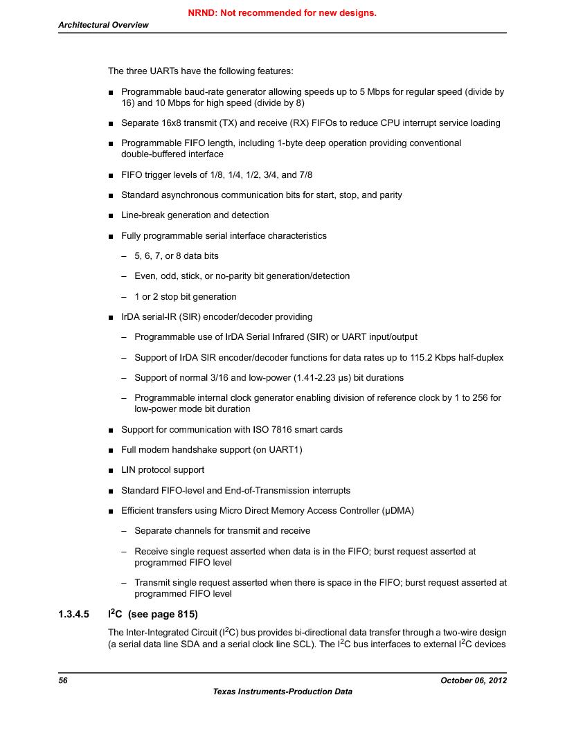 LM3S9U90 ,Texas Instruments厂商,Stellaris LM3S Microcontroller 108-NFBGA -40 to 85, LM3S9U90 datasheet预览  第56页