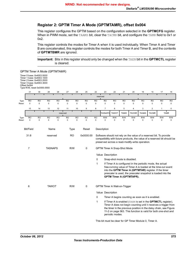 LM3S9U90 ,Texas Instruments厂商,Stellaris LM3S Microcontroller 108-NFBGA -40 to 85, LM3S9U90 datasheet预览  第575页