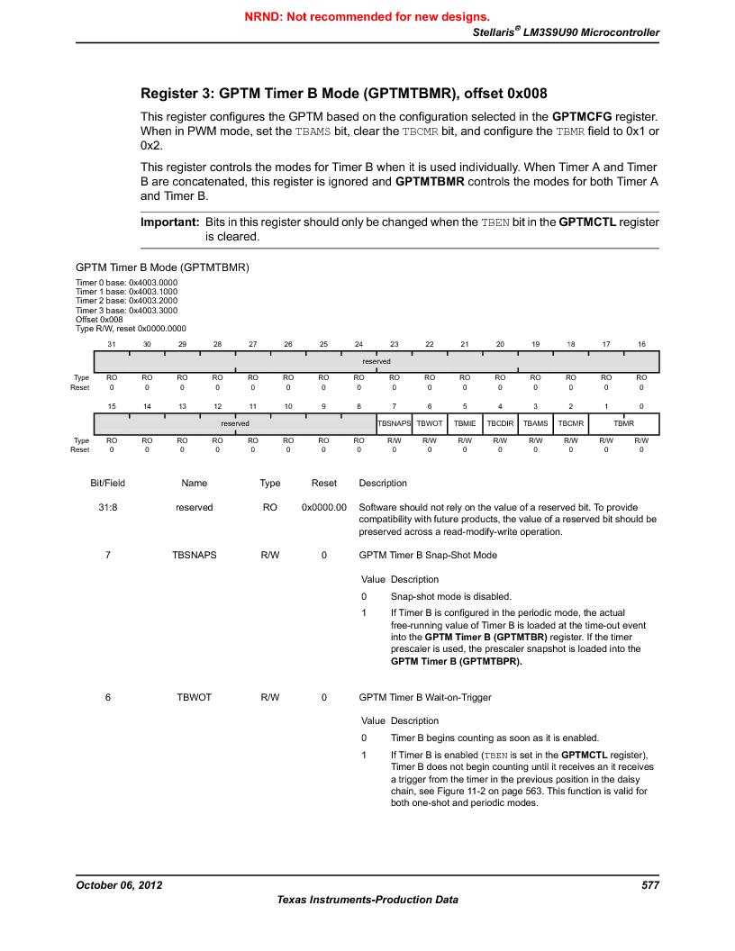 LM3S9U90 ,Texas Instruments厂商,Stellaris LM3S Microcontroller 108-NFBGA -40 to 85, LM3S9U90 datasheet预览  第577页