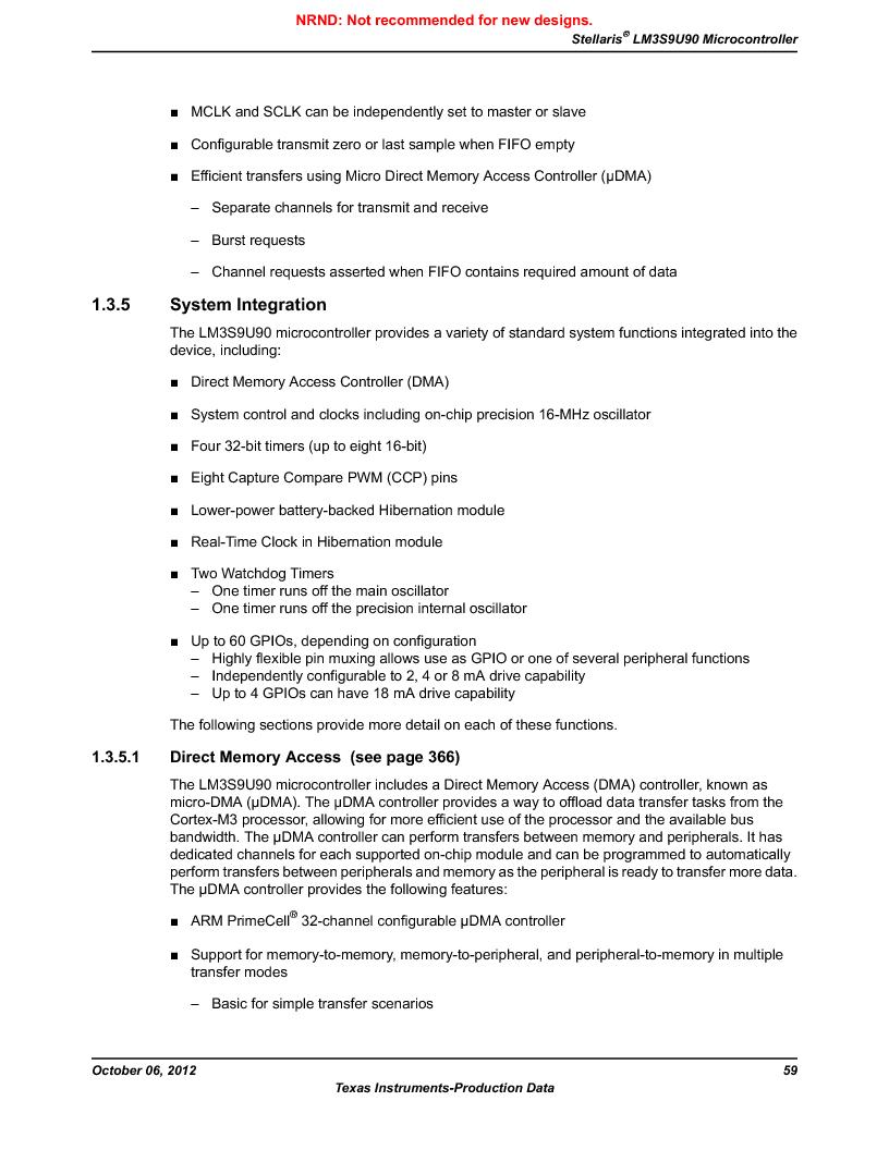 LM3S9U90 ,Texas Instruments厂商,Stellaris LM3S Microcontroller 108-NFBGA -40 to 85, LM3S9U90 datasheet预览  第59页