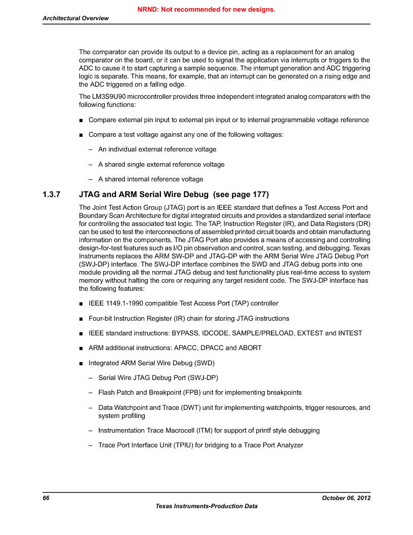 LM3S9U90 ,Texas Instruments厂商,Stellaris LM3S Microcontroller 108-NFBGA -40 to 85, LM3S9U90 datasheet预览  第66页