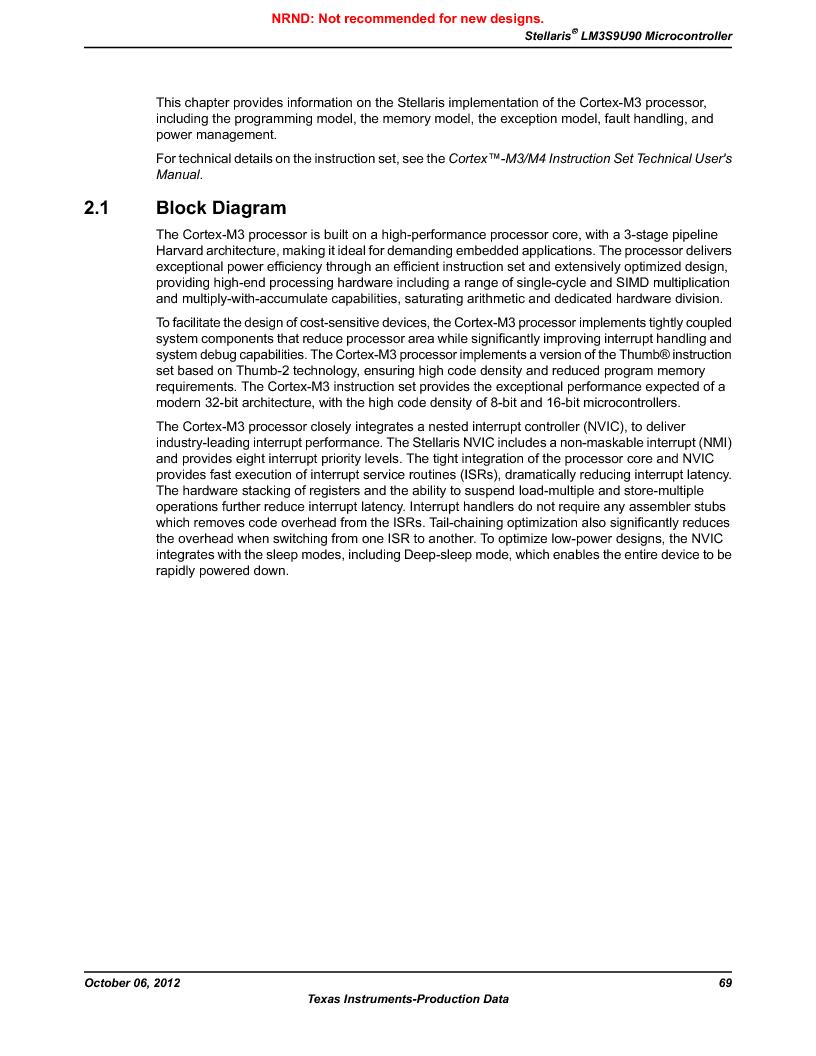 LM3S9U90 ,Texas Instruments厂商,Stellaris LM3S Microcontroller 108-NFBGA -40 to 85, LM3S9U90 datasheet预览  第69页