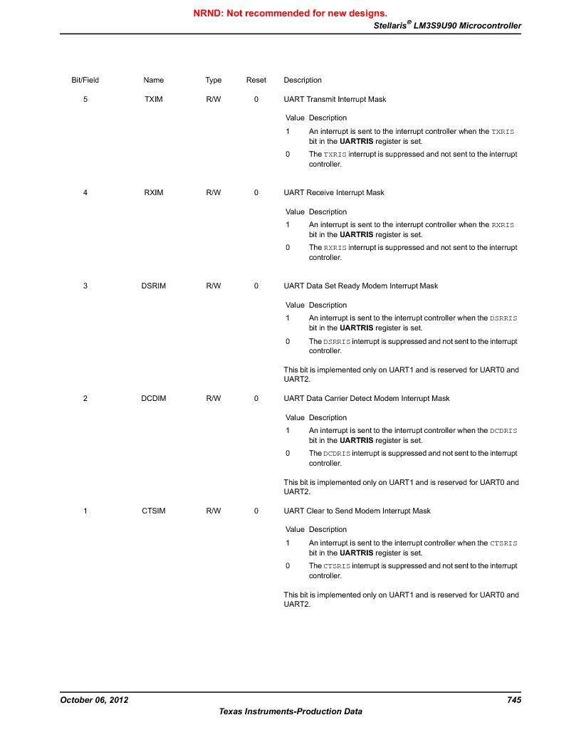 LM3S9U90 ,Texas Instruments厂商,Stellaris LM3S Microcontroller 108-NFBGA -40 to 85, LM3S9U90 datasheet预览  第745页