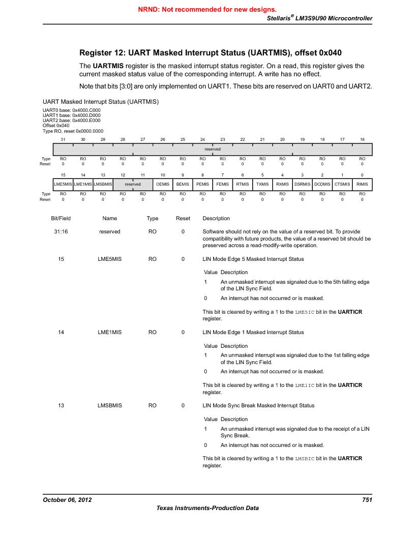 LM3S9U90 ,Texas Instruments厂商,Stellaris LM3S Microcontroller 108-NFBGA -40 to 85, LM3S9U90 datasheet预览  第751页