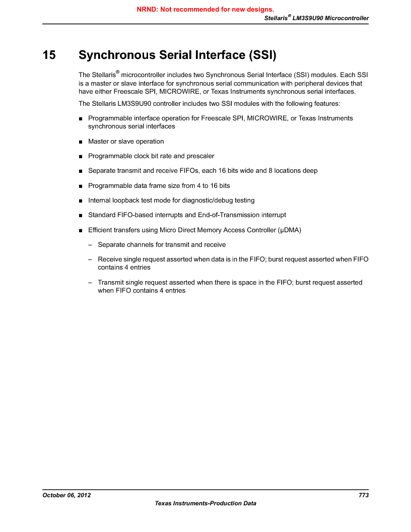 LM3S9U90 ,Texas Instruments厂商,Stellaris LM3S Microcontroller 108-NFBGA -40 to 85, LM3S9U90 datasheet预览  第773页