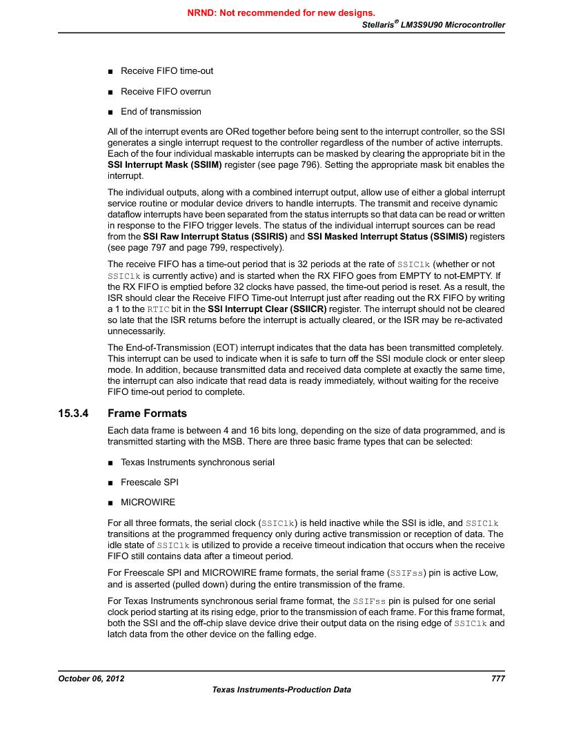 LM3S9U90 ,Texas Instruments厂商,Stellaris LM3S Microcontroller 108-NFBGA -40 to 85, LM3S9U90 datasheet预览  第777页