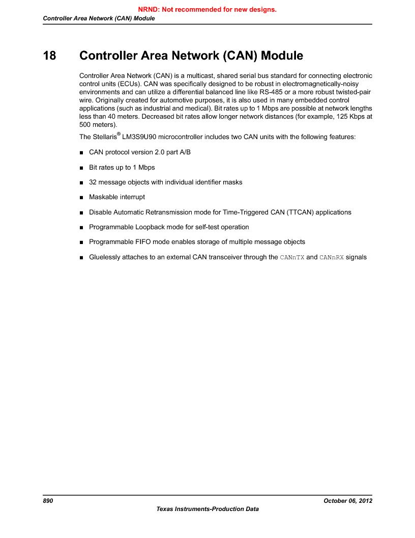 LM3S9U90 ,Texas Instruments厂商,Stellaris LM3S Microcontroller 108-NFBGA -40 to 85, LM3S9U90 datasheet预览  第890页