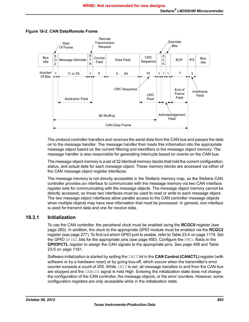 LM3S9U90 ,Texas Instruments厂商,Stellaris LM3S Microcontroller 108-NFBGA -40 to 85, LM3S9U90 datasheet预览  第893页