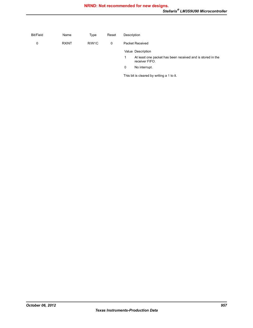 LM3S9U90 ,Texas Instruments厂商,Stellaris LM3S Microcontroller 108-NFBGA -40 to 85, LM3S9U90 datasheet预览  第957页