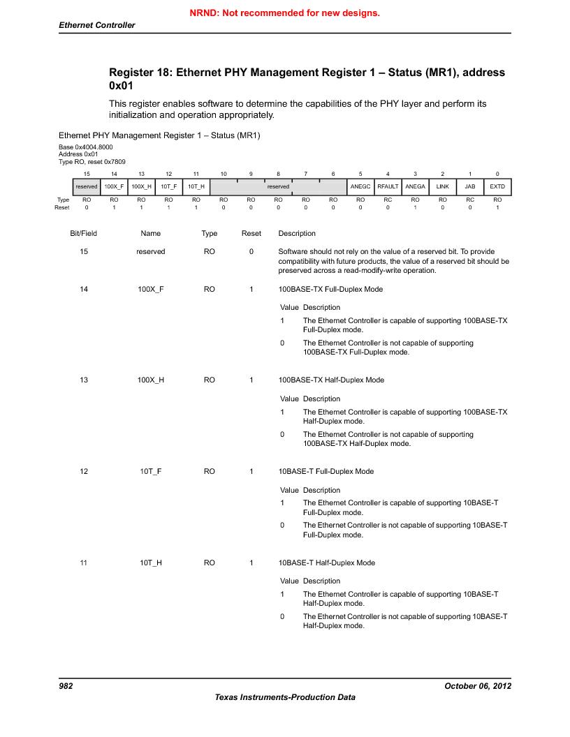 LM3S9U90 ,Texas Instruments厂商,Stellaris LM3S Microcontroller 108-NFBGA -40 to 85, LM3S9U90 datasheet预览  第982页