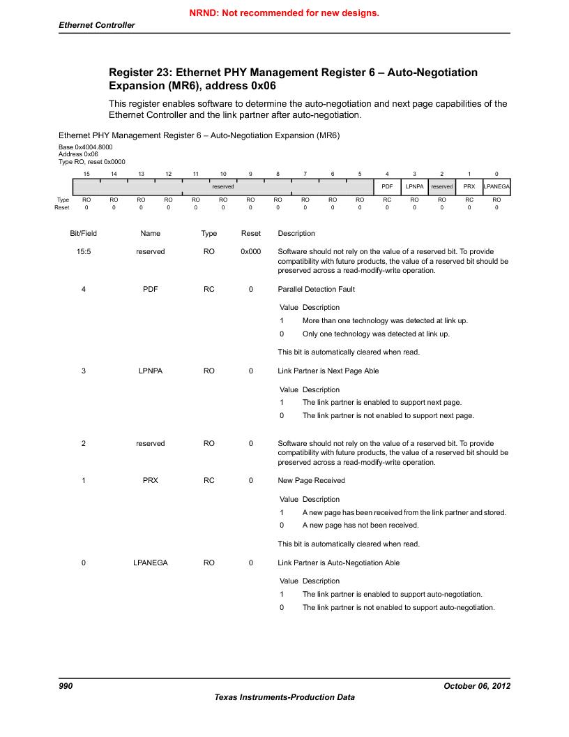 LM3S9U90 ,Texas Instruments厂商,Stellaris LM3S Microcontroller 108-NFBGA -40 to 85, LM3S9U90 datasheet预览  第990页