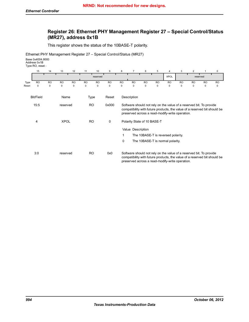 LM3S9U90 ,Texas Instruments厂商,Stellaris LM3S Microcontroller 108-NFBGA -40 to 85, LM3S9U90 datasheet预览  第994页
