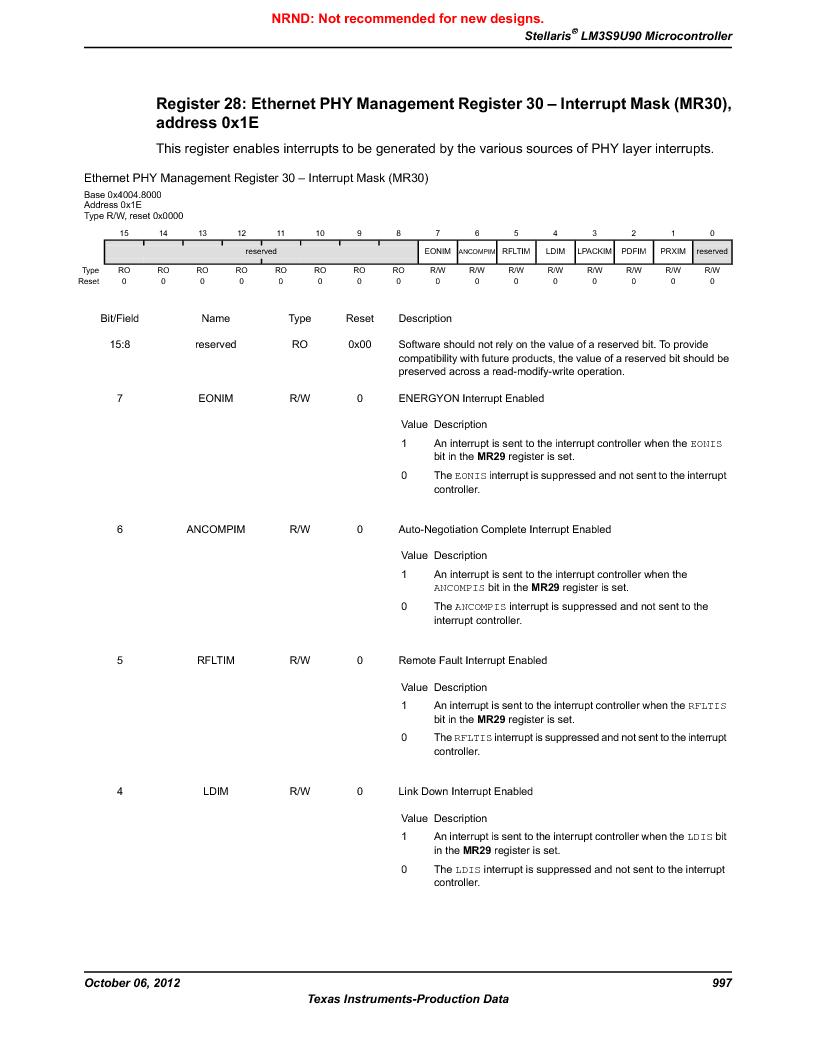 LM3S9U90 ,Texas Instruments厂商,Stellaris LM3S Microcontroller 108-NFBGA -40 to 85, LM3S9U90 datasheet预览  第997页