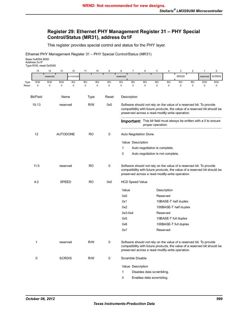 LM3S9U90 ,Texas Instruments厂商,Stellaris LM3S Microcontroller 108-NFBGA -40 to 85, LM3S9U90 datasheet预览  第999页