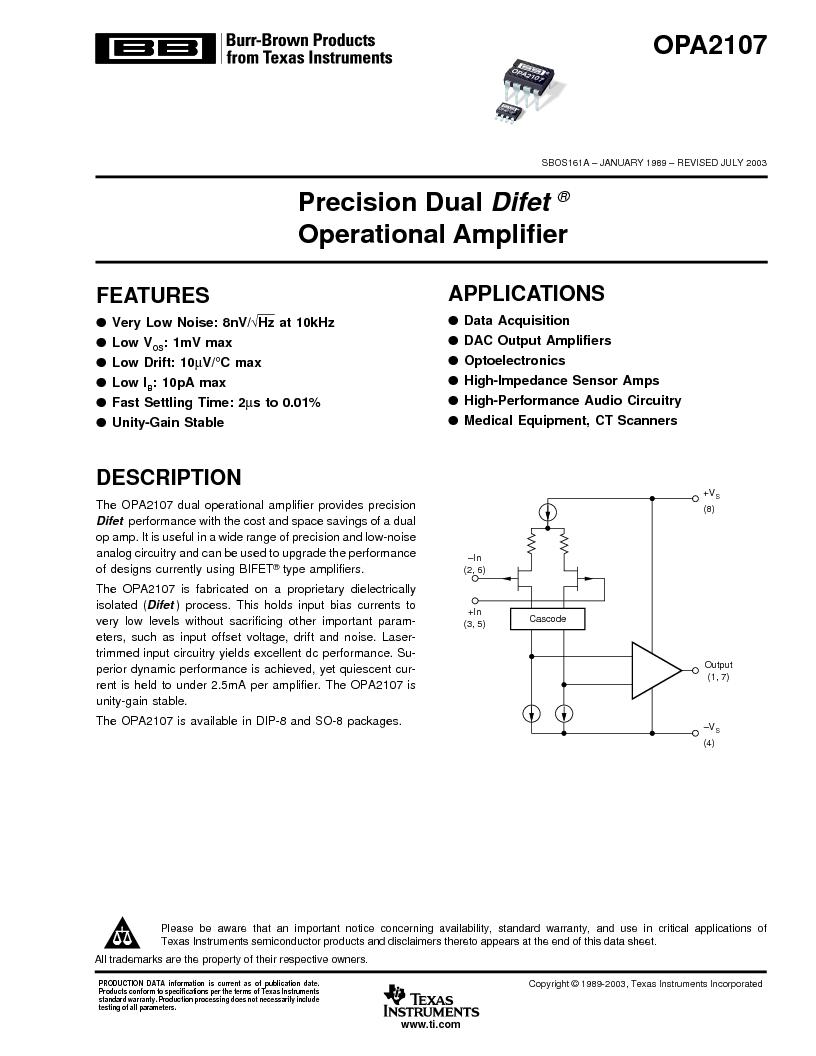 opa2107au ,texas instruments厂商,precision dual difet(r)