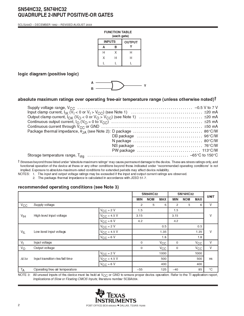 SN54HC32 ,Texas Instruments厂商,Quadruple 2-Input Positive-OR Gates 14-CFP -55 to 125, SN54HC32 datasheet预览  第2页