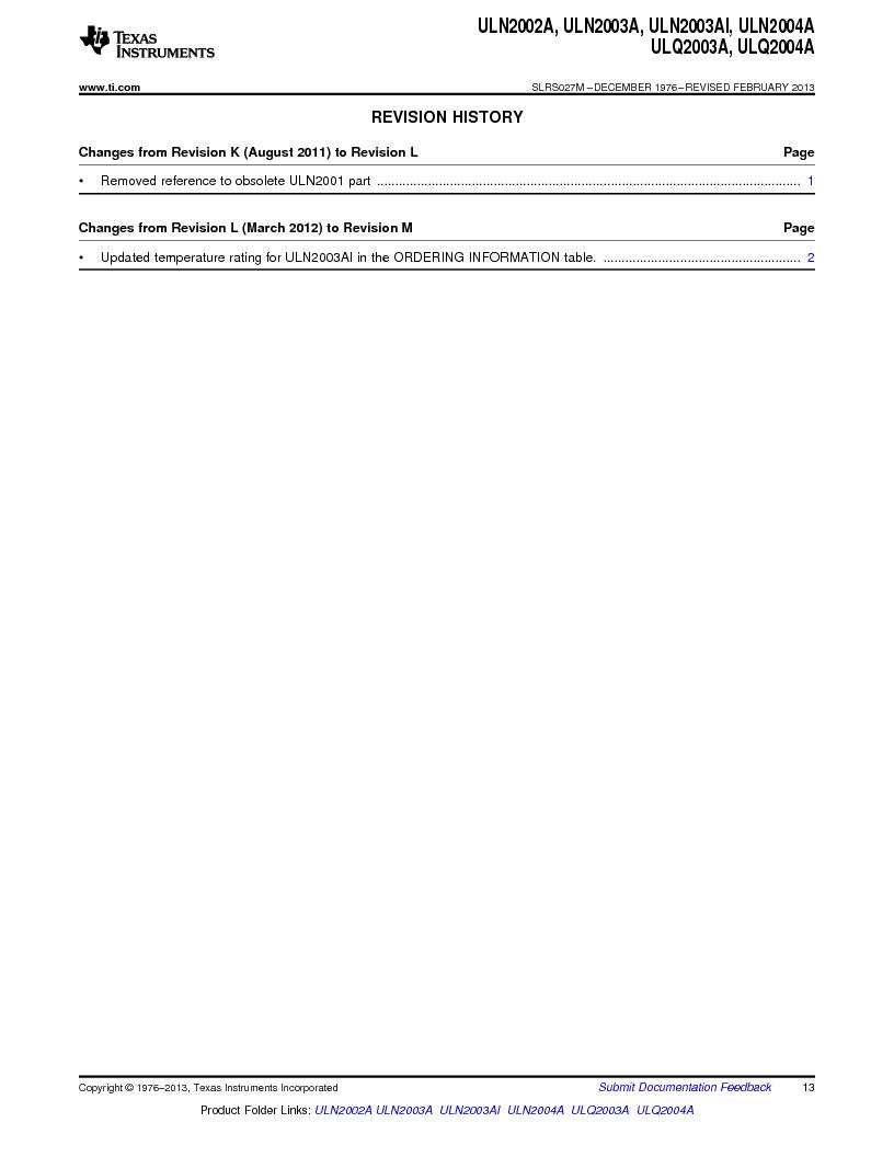 ULN2003ADG4 ,Texas Instruments厂商,High-Voltage, High-Current Darlington Transistor Arrays 16-SOIC -20 to 70, ULN2003ADG4 datasheet预览  第13页
