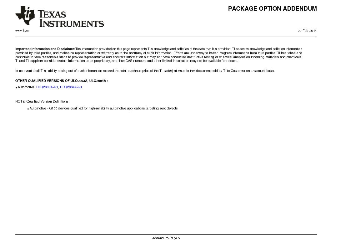 ULN2003ADG4 ,Texas Instruments厂商,High-Voltage, High-Current Darlington Transistor Arrays 16-SOIC -20 to 70, ULN2003ADG4 datasheet预览  第18页