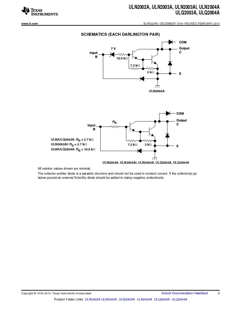 ULN2003ADG4 ,Texas Instruments厂商,High-Voltage, High-Current Darlington Transistor Arrays 16-SOIC -20 to 70, ULN2003ADG4 datasheet预览  第3页