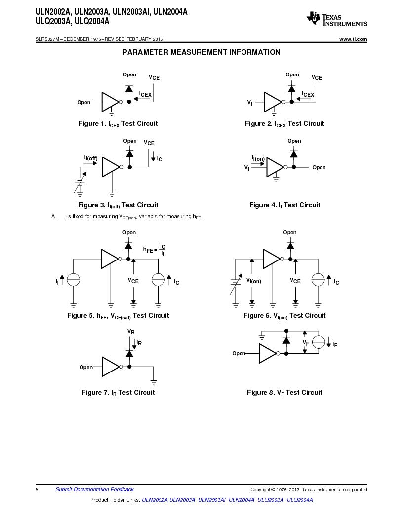 ULN2003ADG4 ,Texas Instruments厂商,High-Voltage, High-Current Darlington Transistor Arrays 16-SOIC -20 to 70, ULN2003ADG4 datasheet预览  第8页