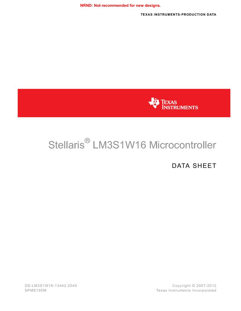 LM3S1W16-IQR50-C5 ,Texas Instruments厂商,Stellaris LM3S Microcontroller 64-LQFP -40 to 85, LM3S1W16-IQR50-C5 datasheet预览  第1页