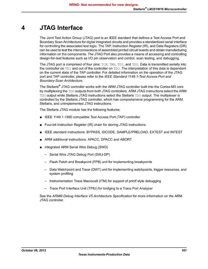 LM3S1W16-IQR50-C5 ,Texas Instruments厂商,Stellaris LM3S Microcontroller 64-LQFP -40 to 85, LM3S1W16-IQR50-C5 datasheet预览  第161页