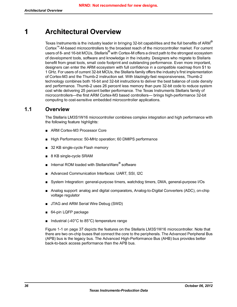 LM3S1W16-IQR50-C5 ,Texas Instruments厂商,Stellaris LM3S Microcontroller 64-LQFP -40 to 85, LM3S1W16-IQR50-C5 datasheet预览  第36页