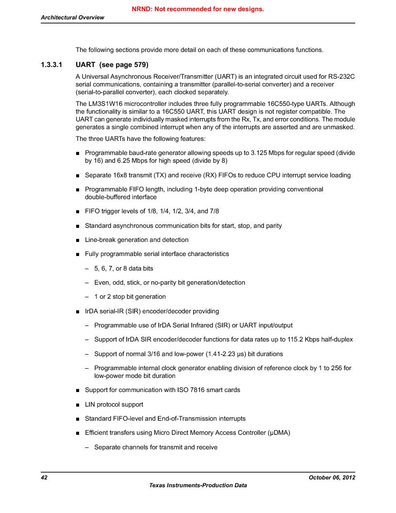 LM3S1W16-IQR50-C5 ,Texas Instruments厂商,Stellaris LM3S Microcontroller 64-LQFP -40 to 85, LM3S1W16-IQR50-C5 datasheet预览  第42页